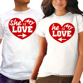 Couples t shirt - She is my love, He is my love