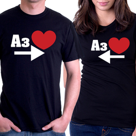 Couples t shirt - I LOVE YOU 3