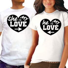 Couples t shirt - She is my love, He is my love 2